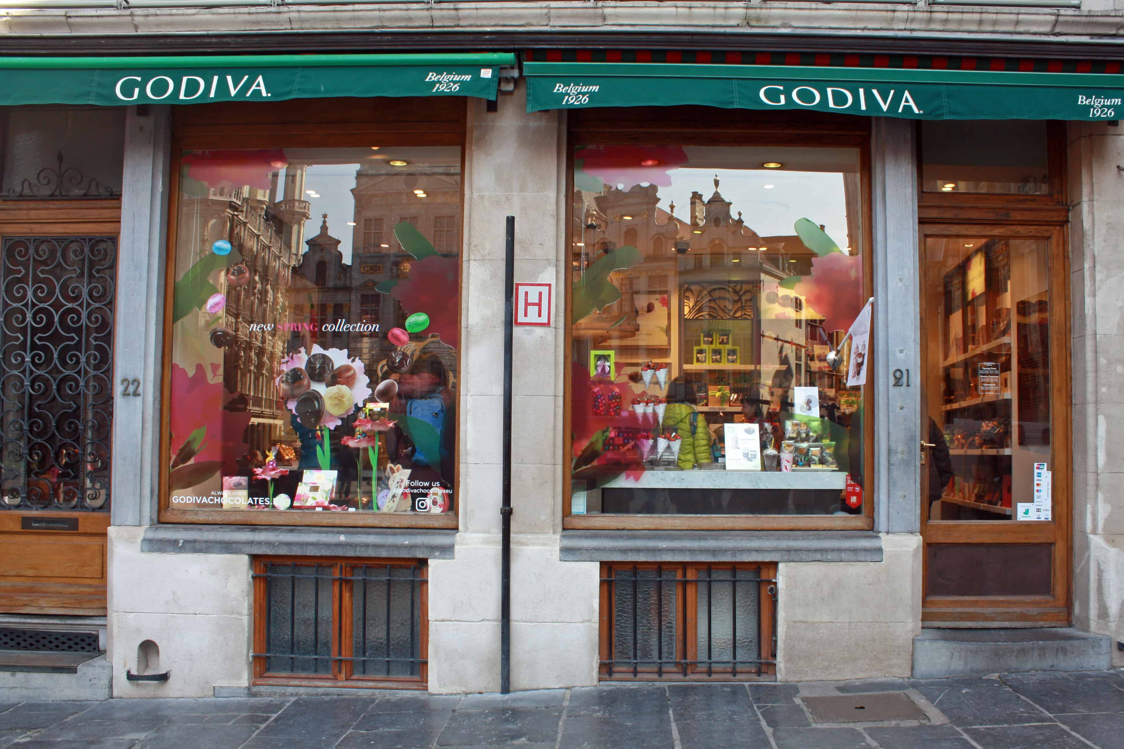 Outside Godiva, Brussels