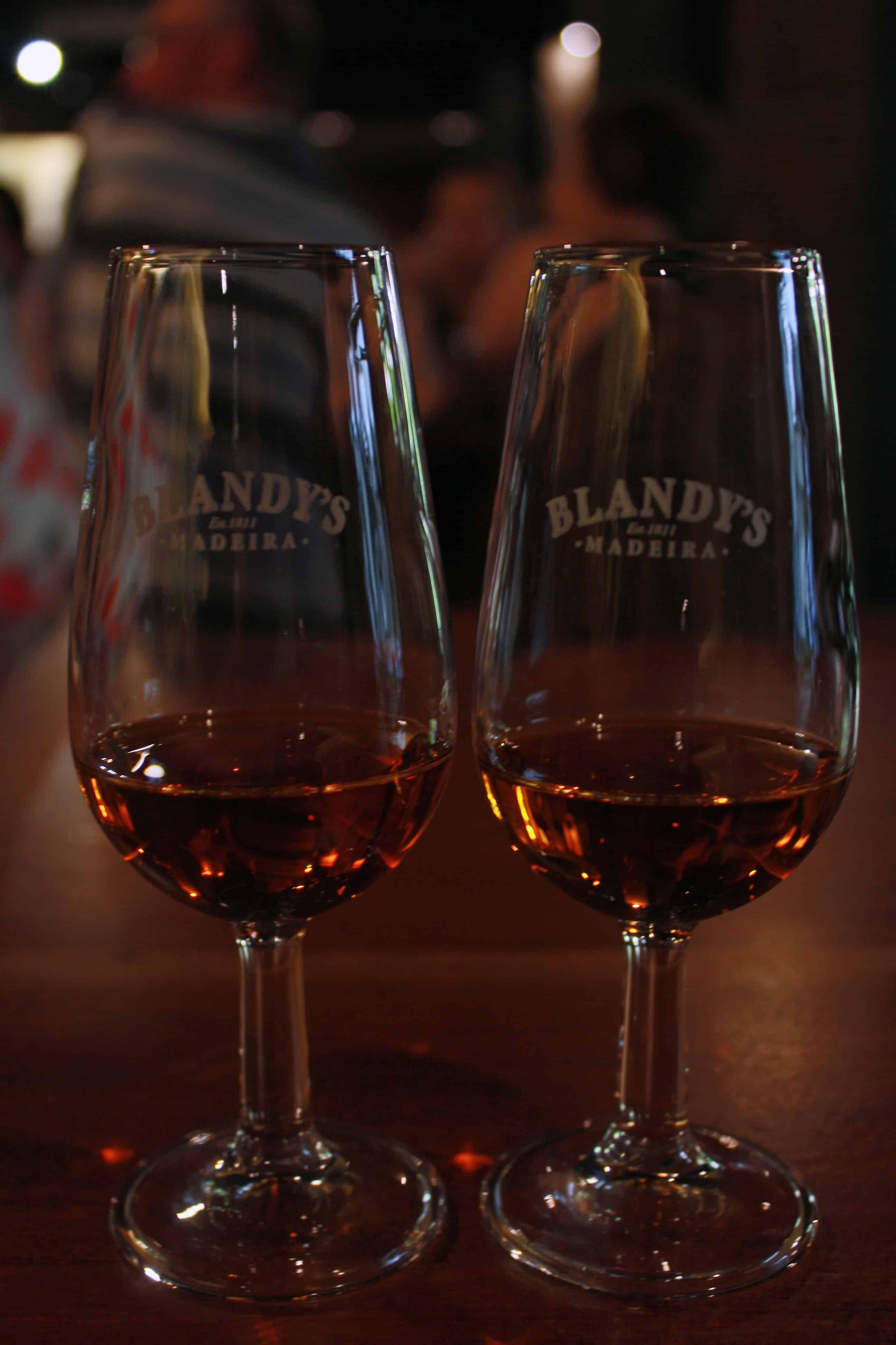 Blandy's Madeira wine samples