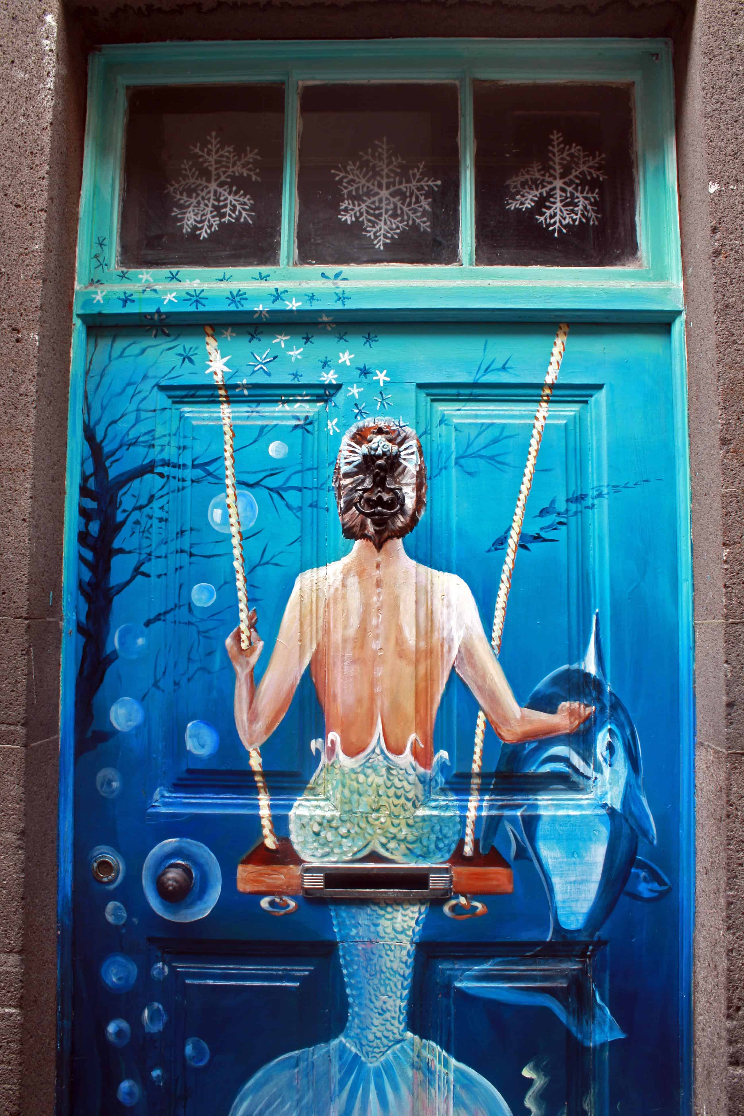 Painted Doors Project, Madeira - Mermaid & Dolphin