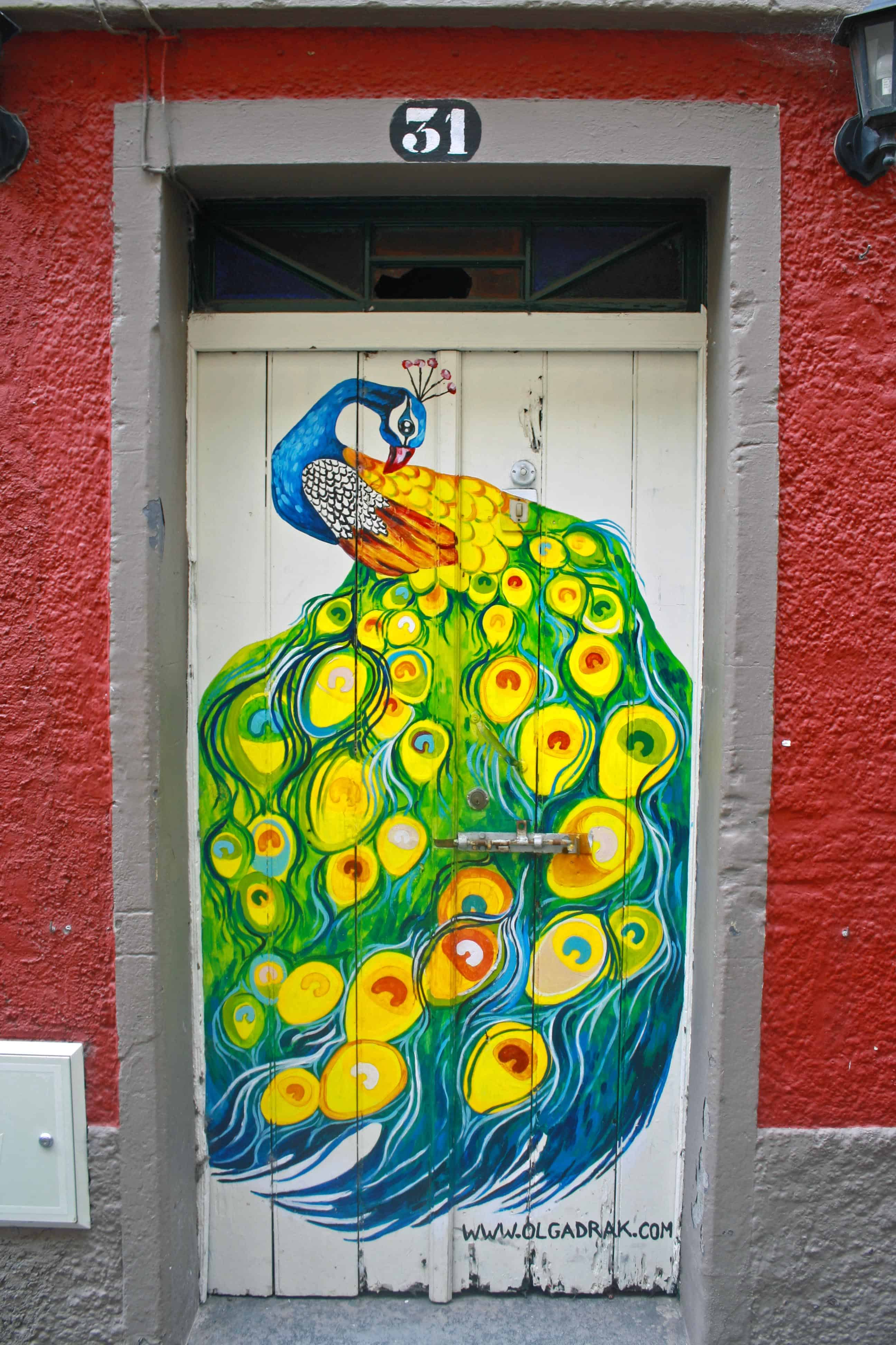 Painted Doors Project, Madeira - Peacock