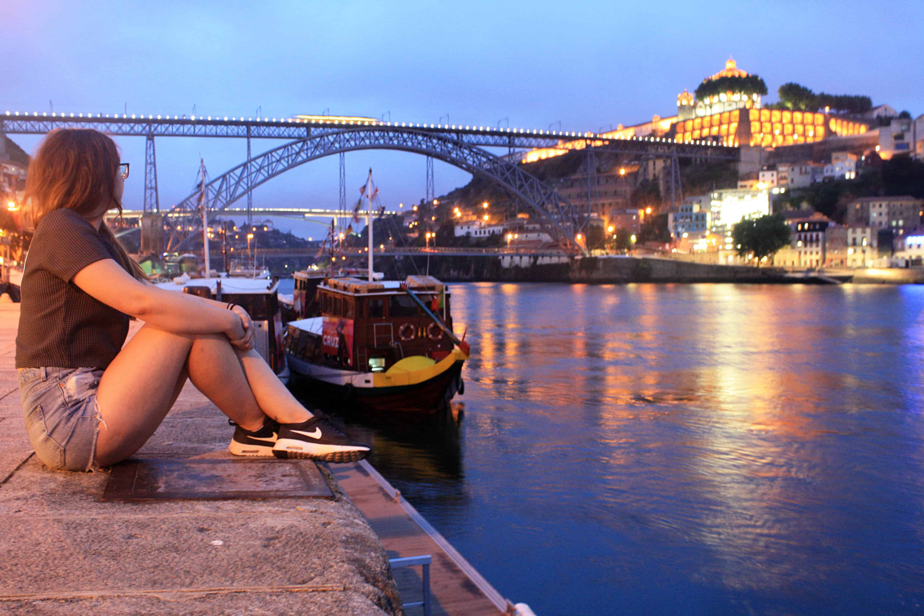 Douro River and Dom Luis Bridge, Porto at night