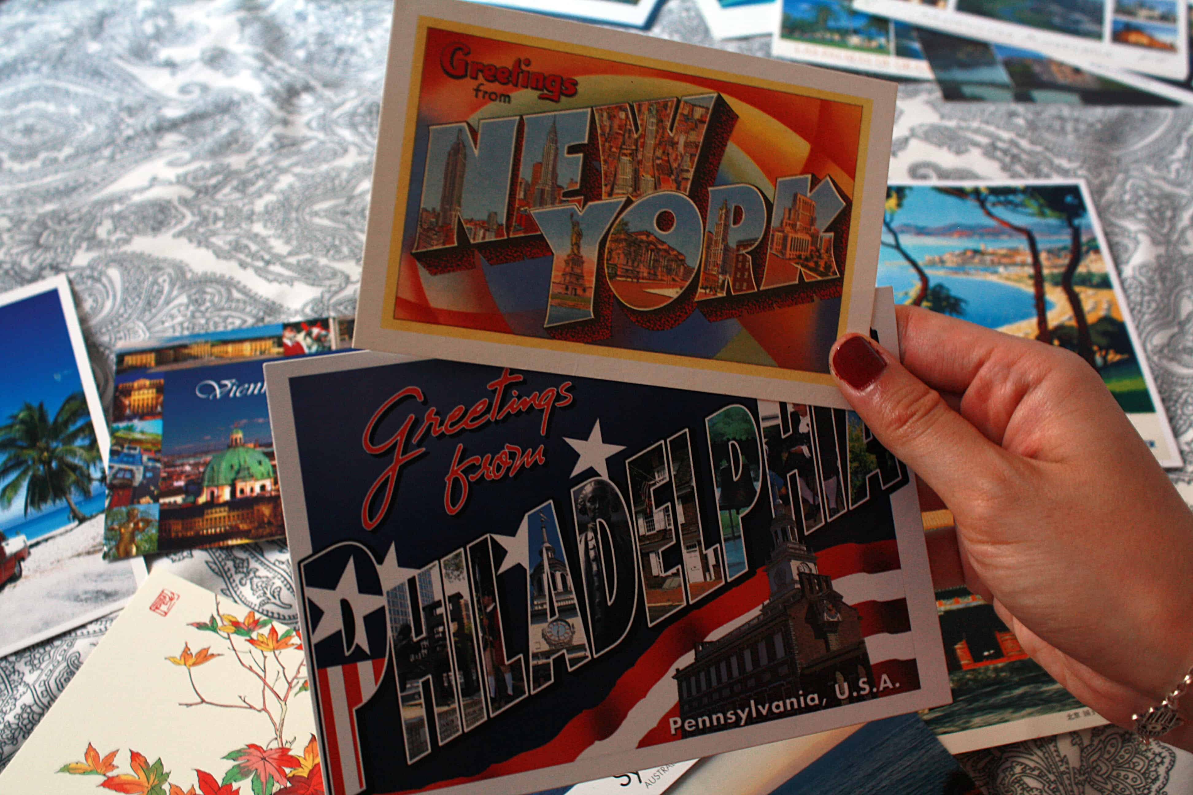 Greetings from New York and Philadelphia postcards