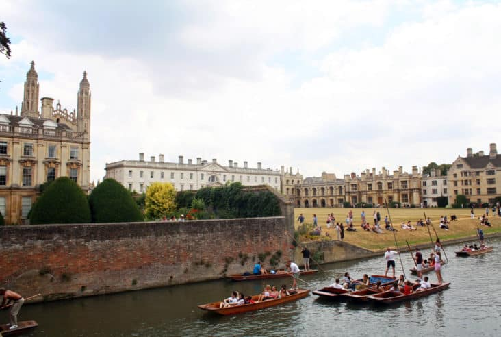 Punting in front of King's College, Cambridge