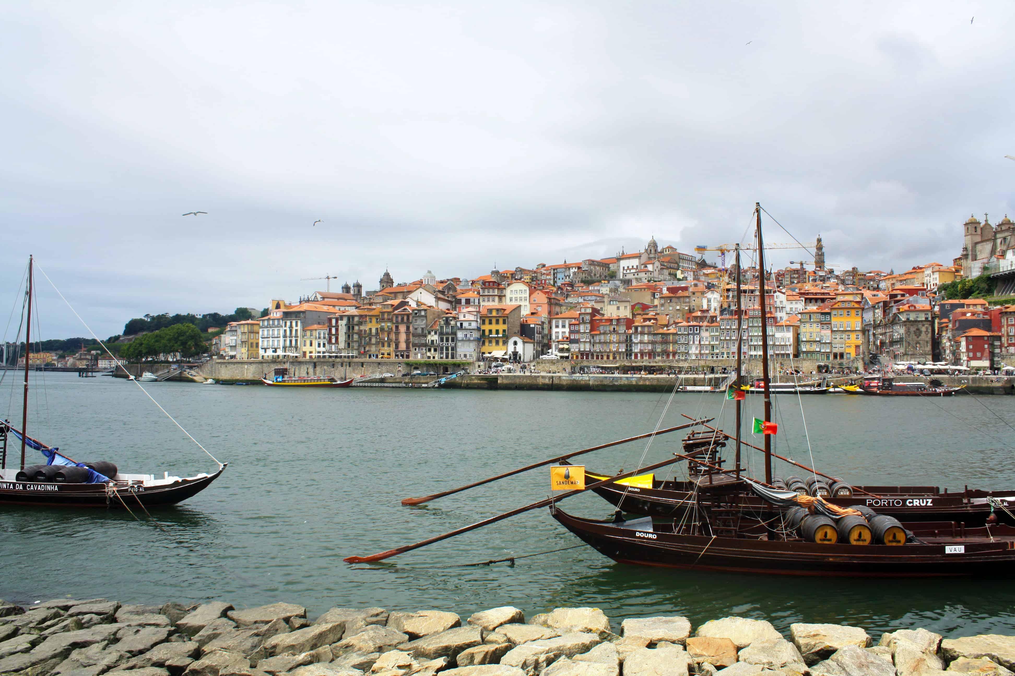 Sandeman wine boats on the Douro River, Porto