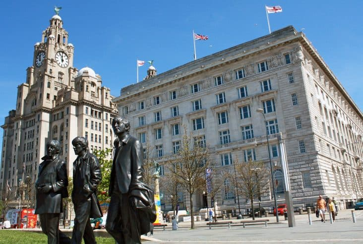 Beatles Statue, Cunard Building and Liver Building, Liverpool