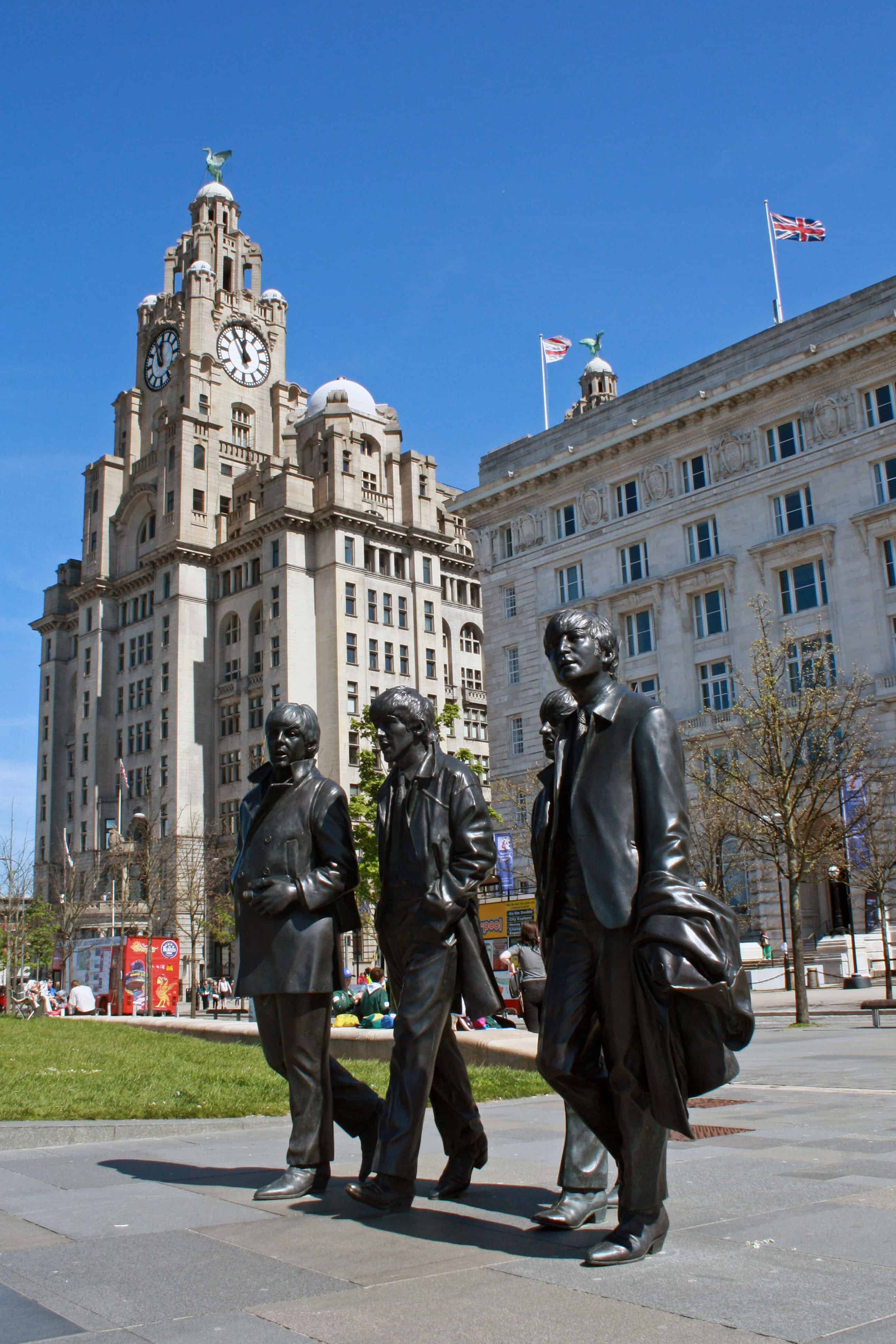 Beatles Statue and Liver Building, Liverpool
