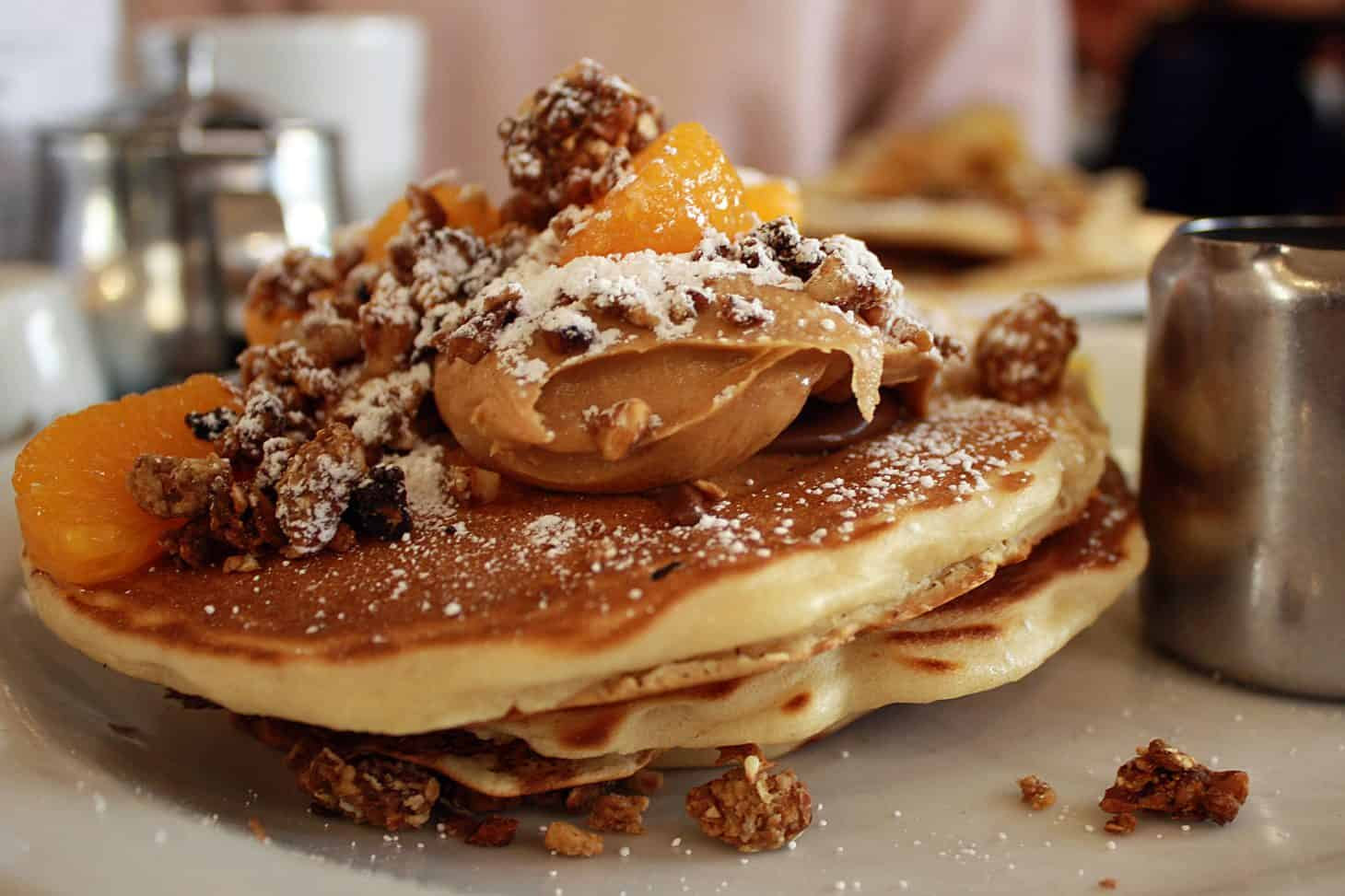Moose Coffee, Granola & Chocolate Peanut Butter Pancakes