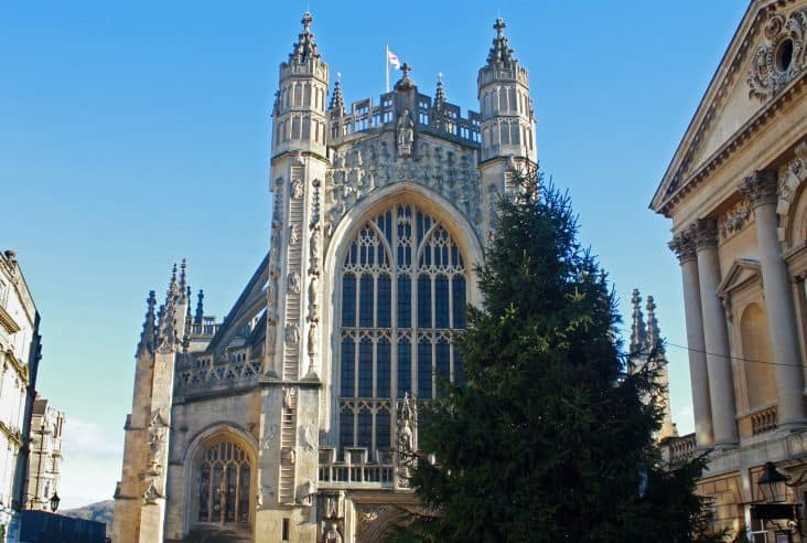 Bath Christmas Market, Bath Abbey with Christmas tree