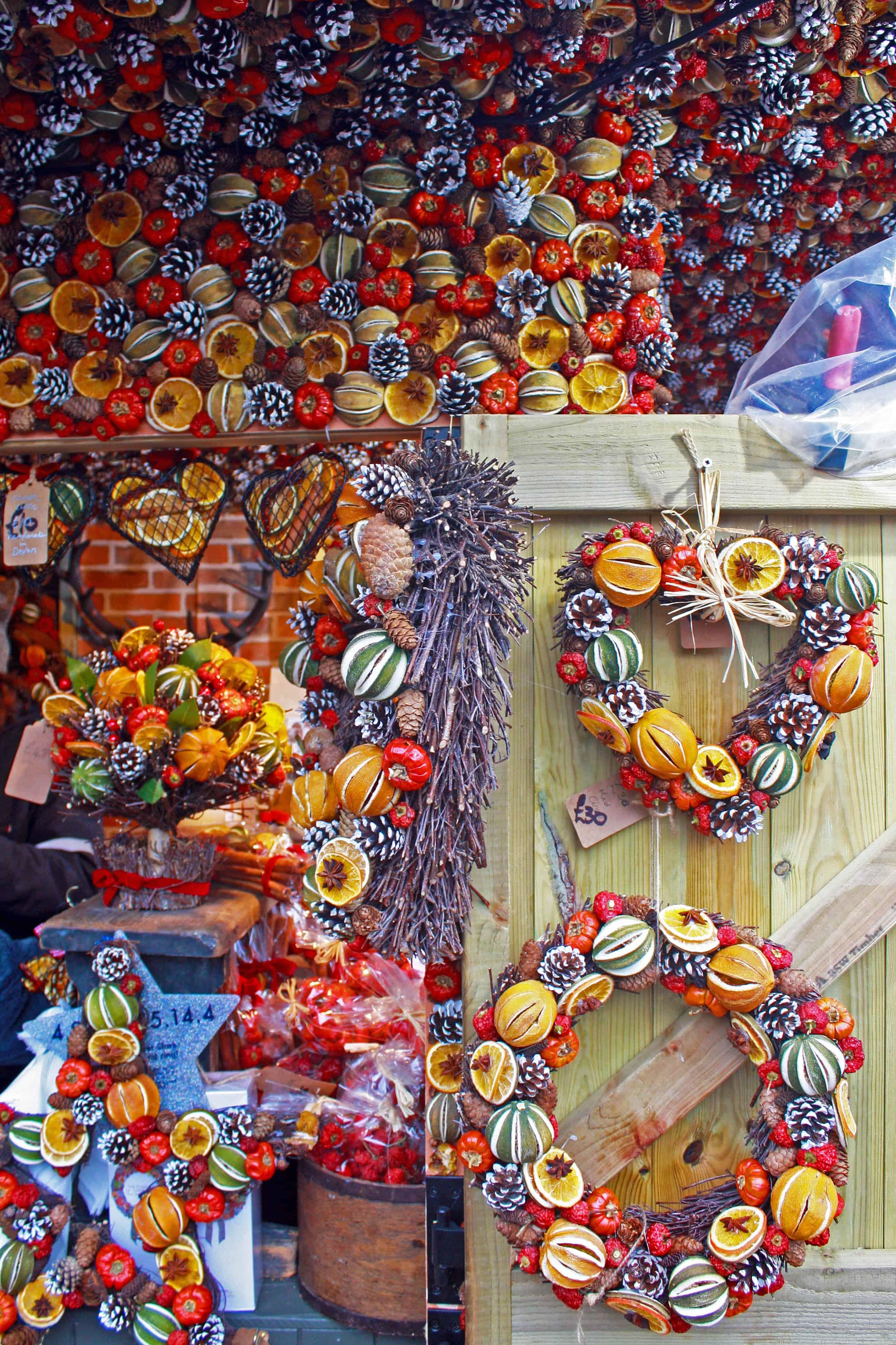 Christmas garlands stall at Bath Christmas Market