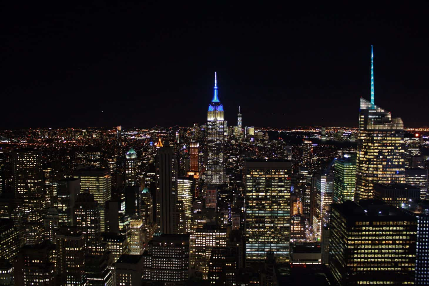 New York skyline at night from the Rockefeller Centre