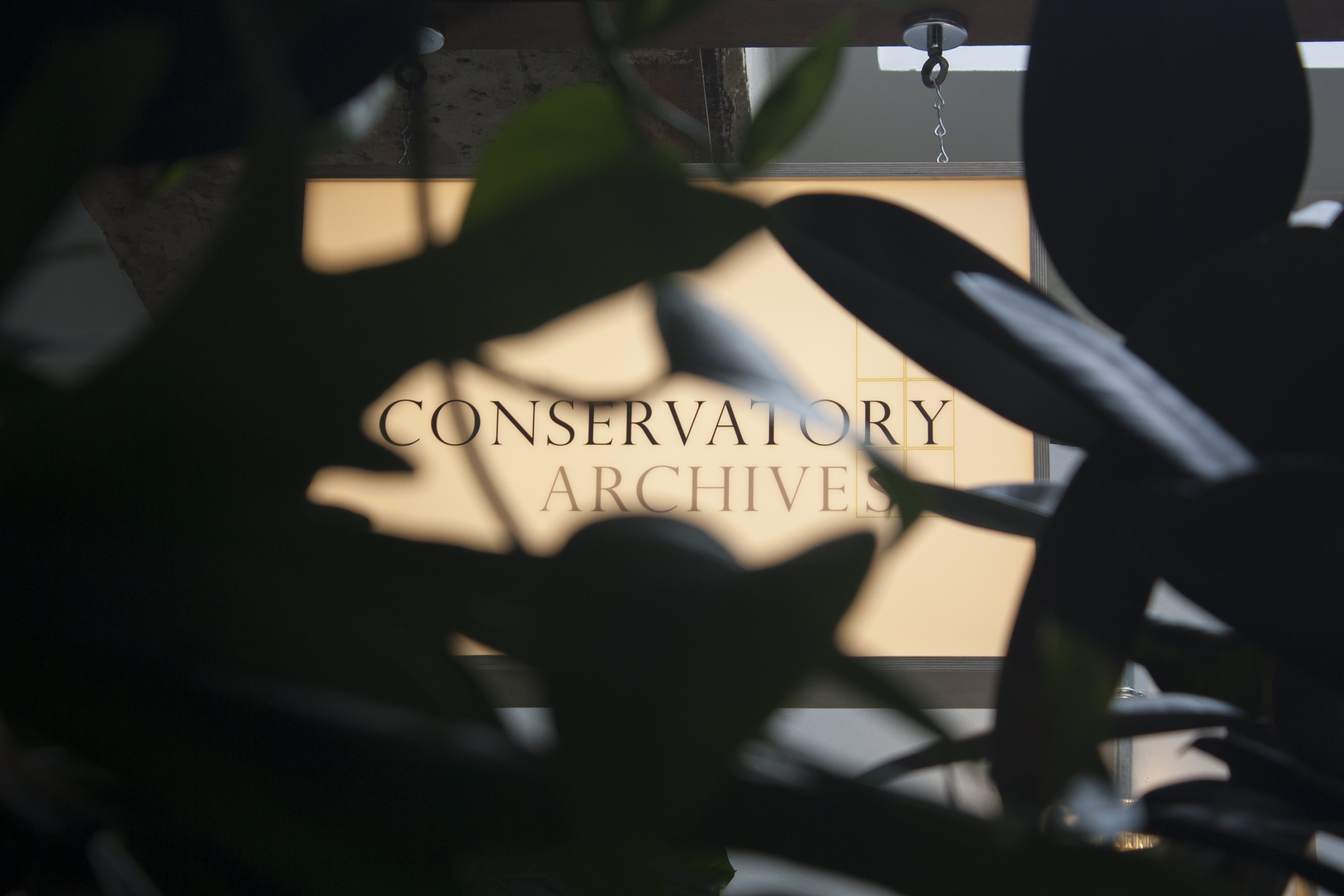 Conservatory Archives sign