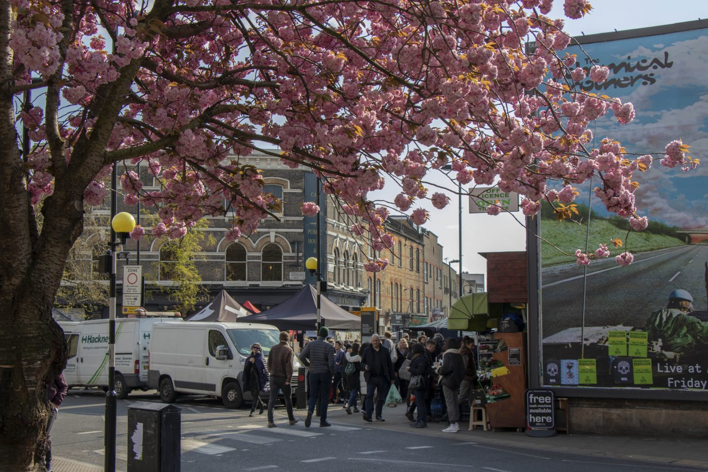 Cherry blossom at Broadway Market, London