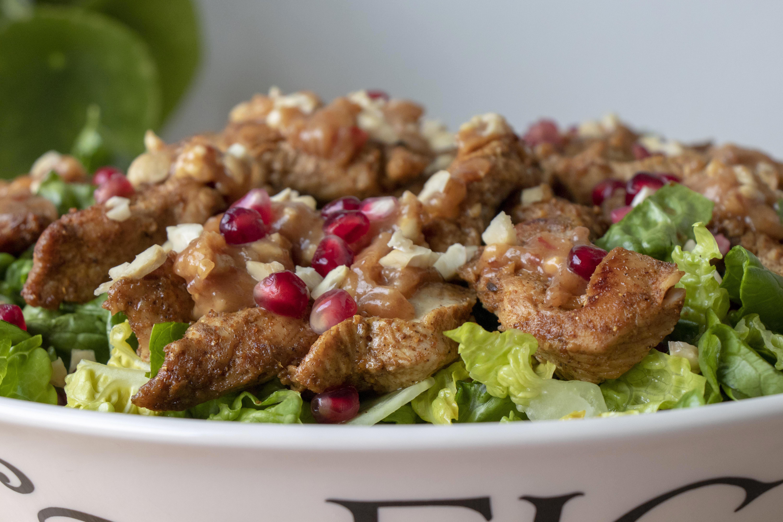 Healthy turkey satay salad close-up