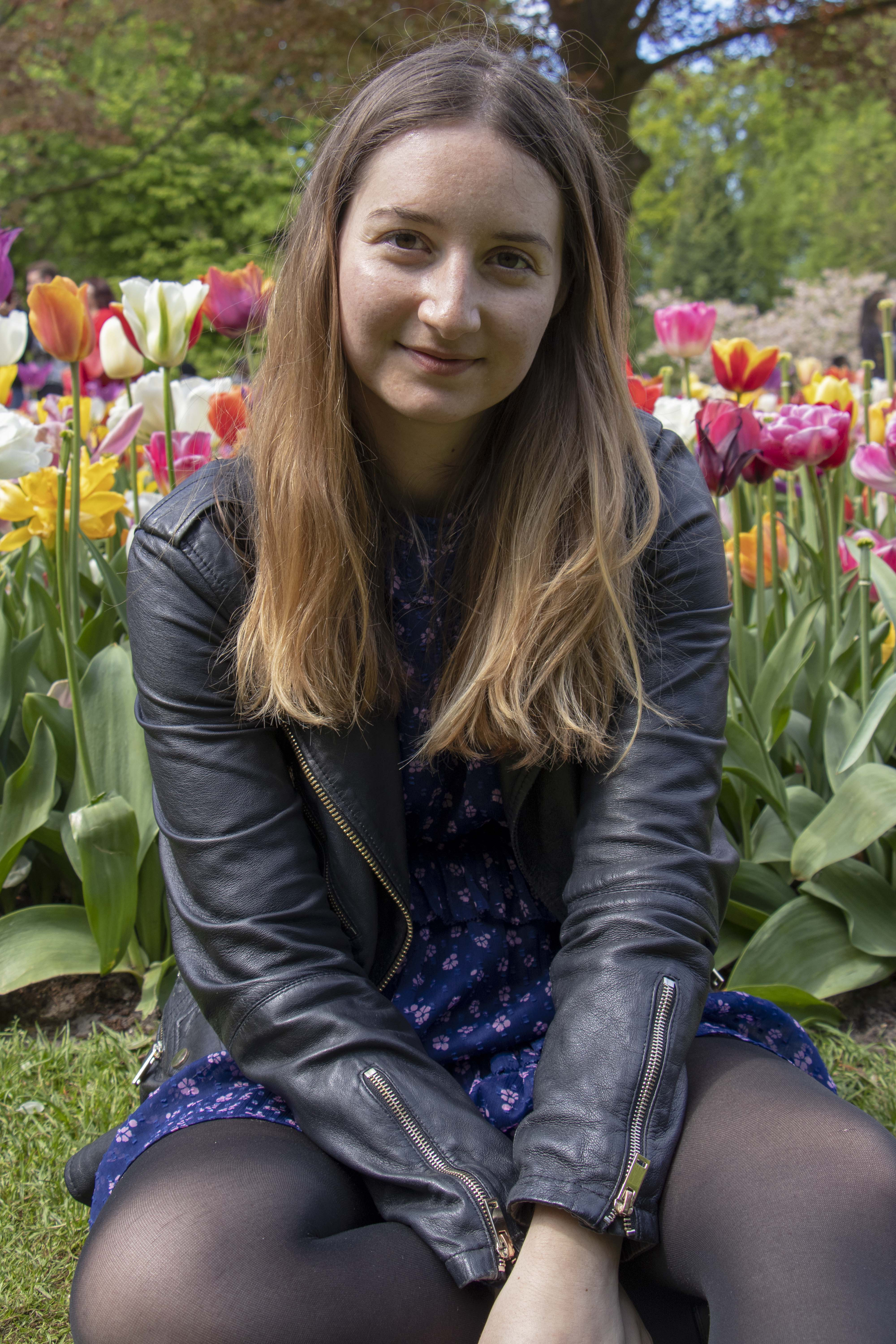 Sitting in Keukenhof, Lisse, Netherlands
