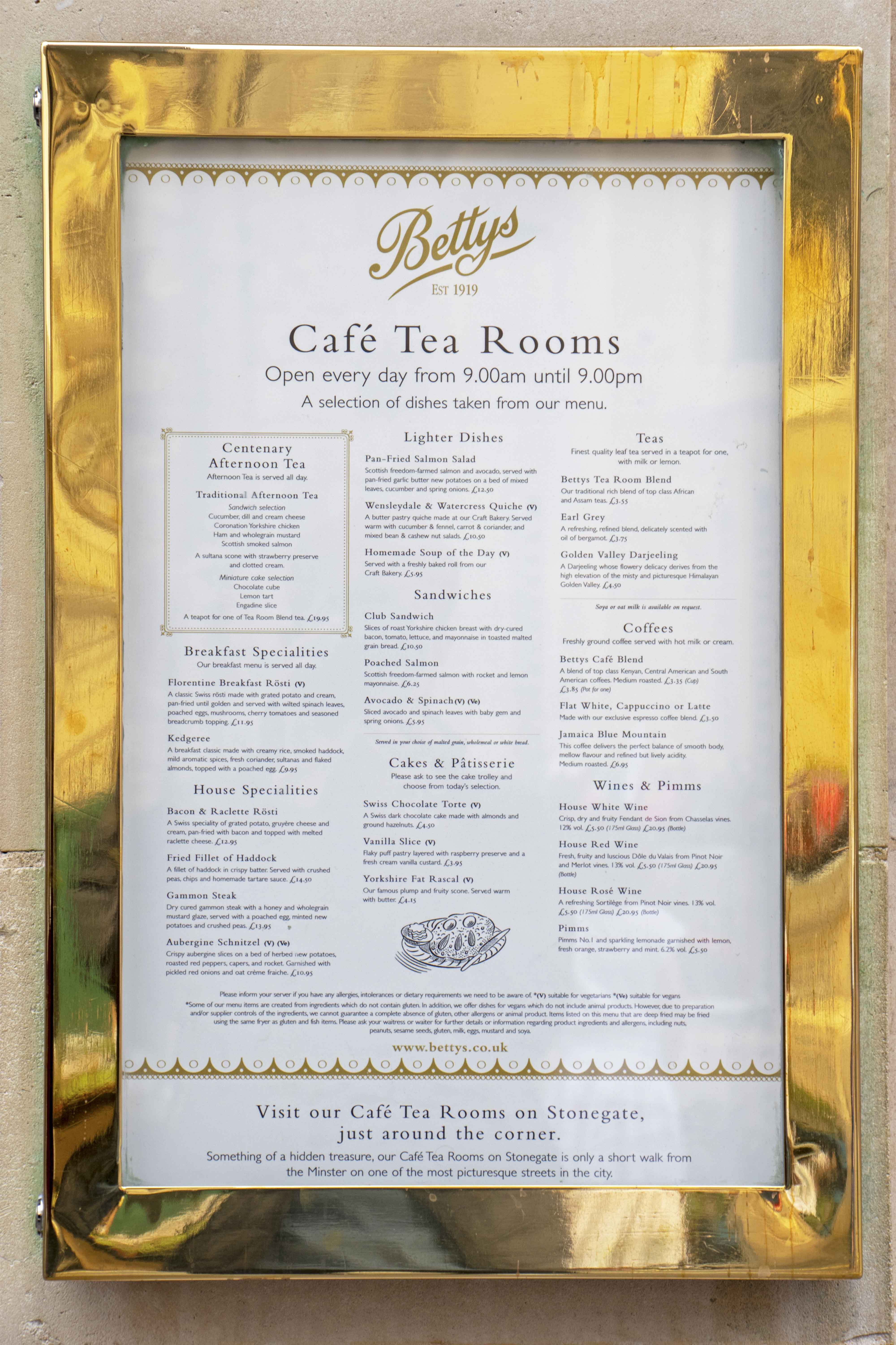Bettys Tea Rooms, York menu