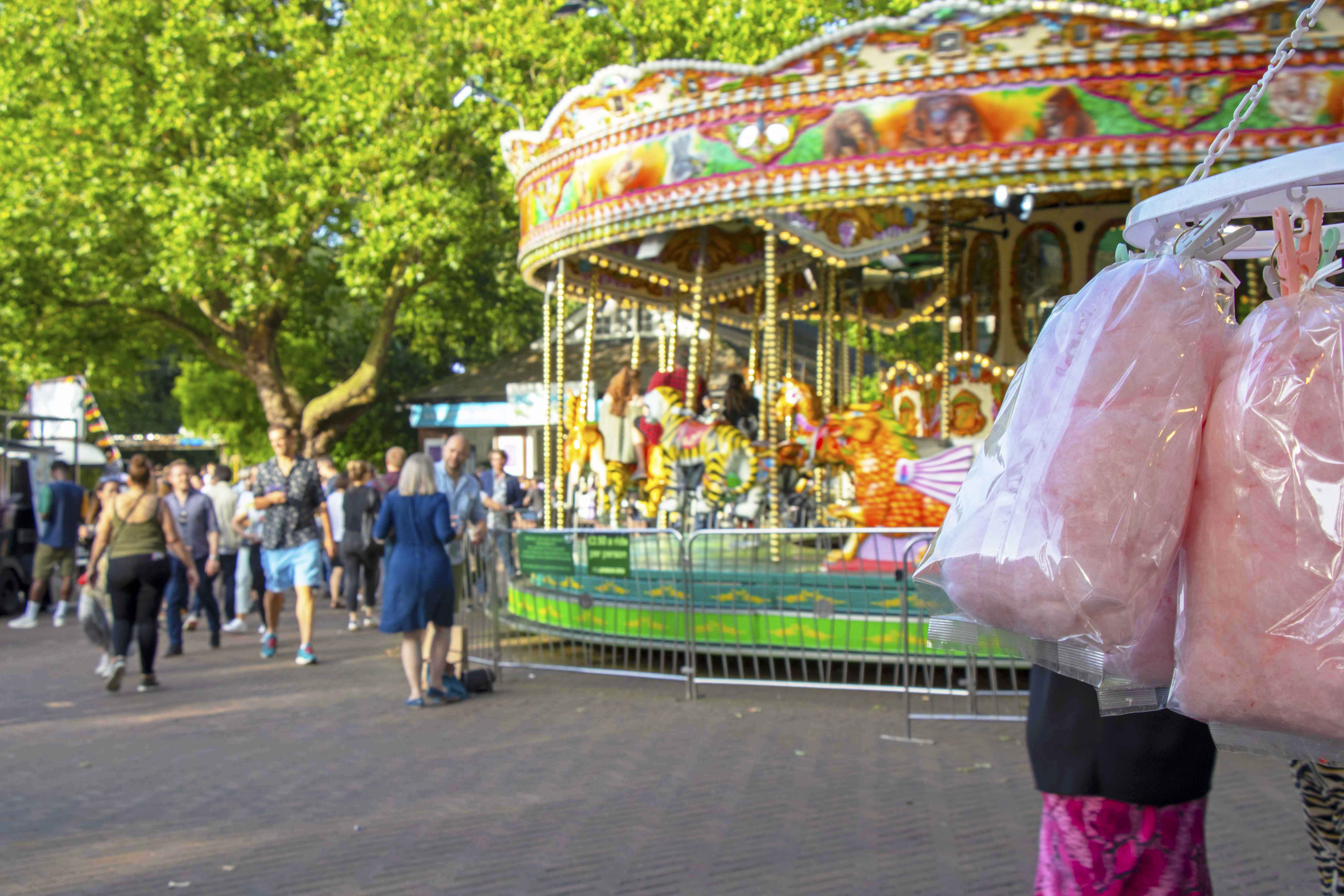 Candy floss and carousel at London Zoo