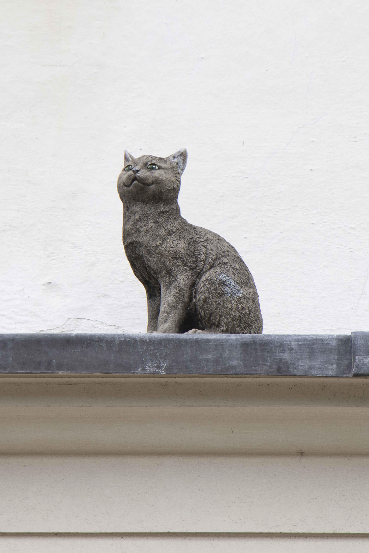 Cat statue on Walmgate bar, York lucky cat trail