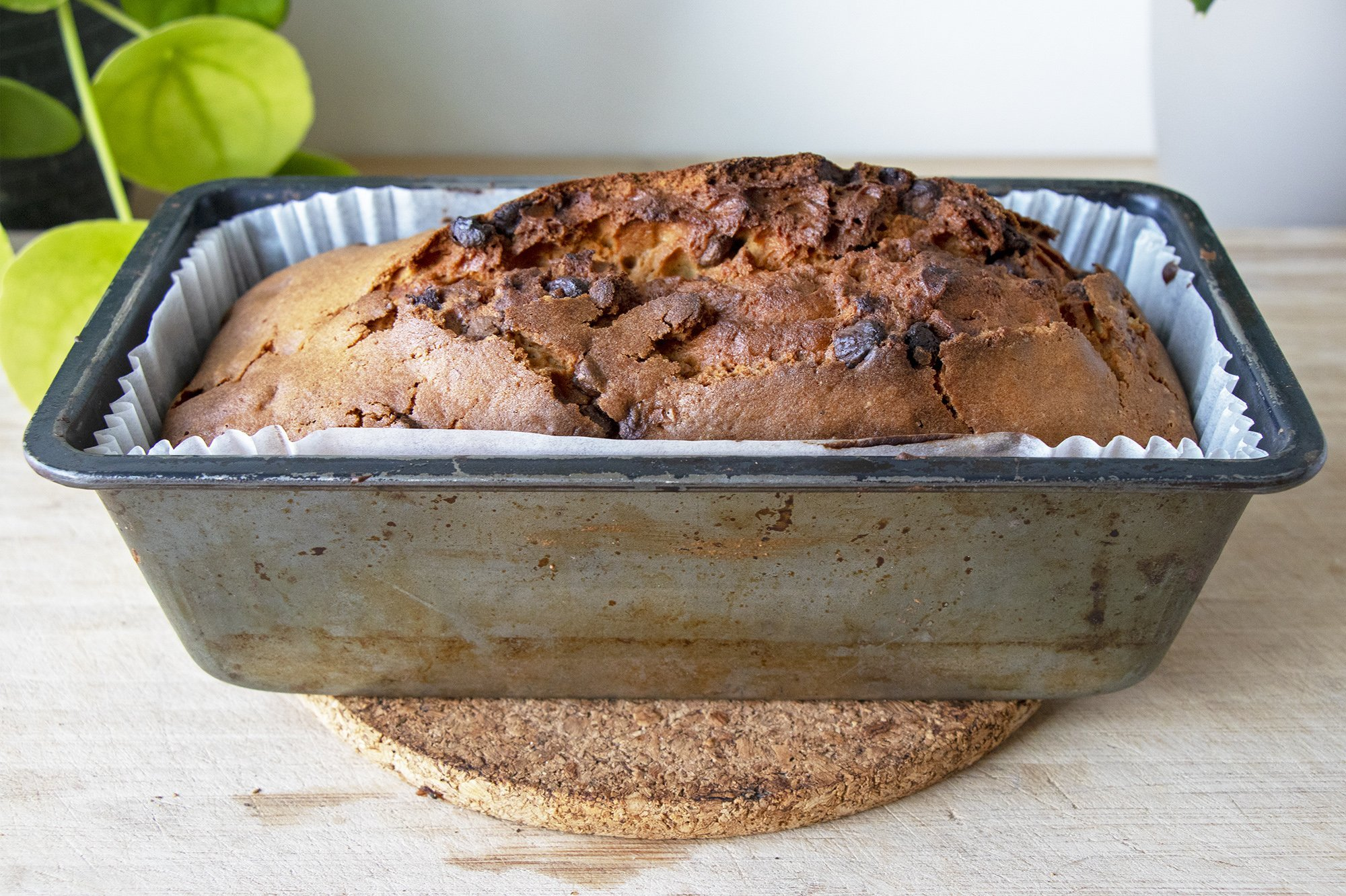 Banana bread with chocolate chips in tin