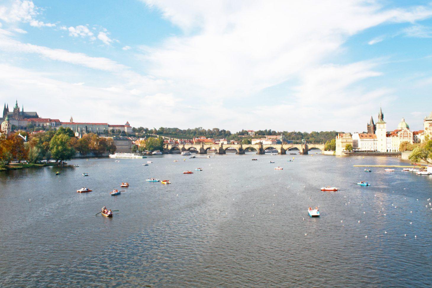 Charles bridge over Vltava and Prague castle