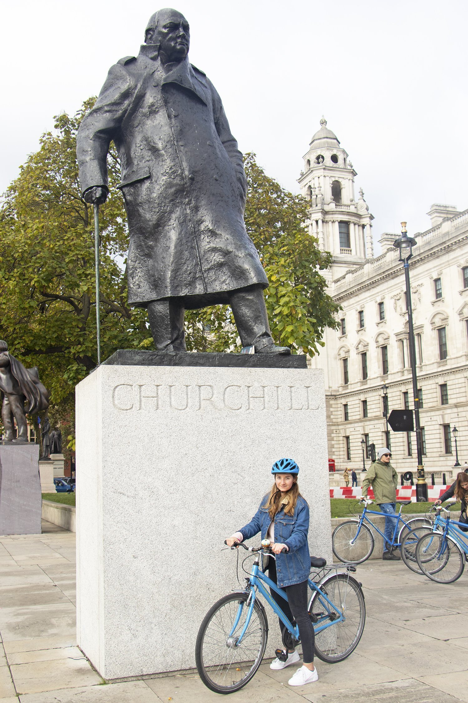 Churchill statue in Parliament Square on a bicycle tour of London