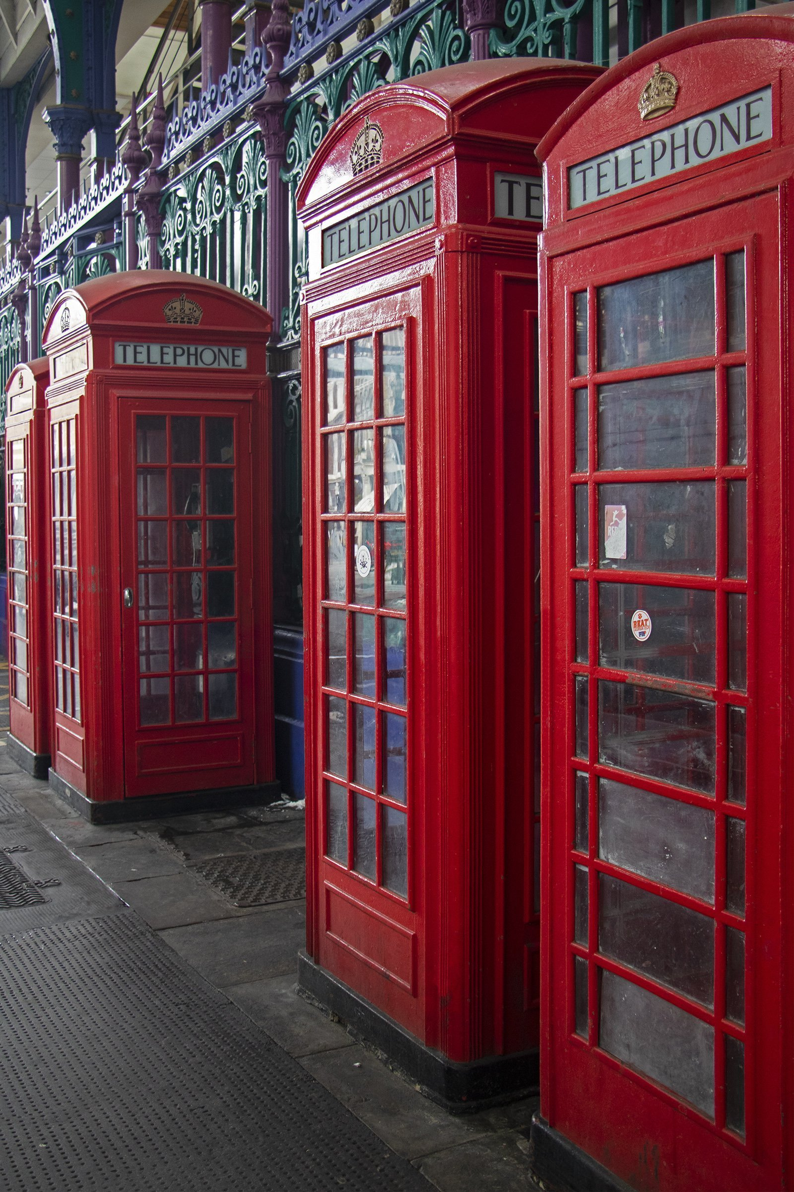 London red telephone boxes in Smithfield Market