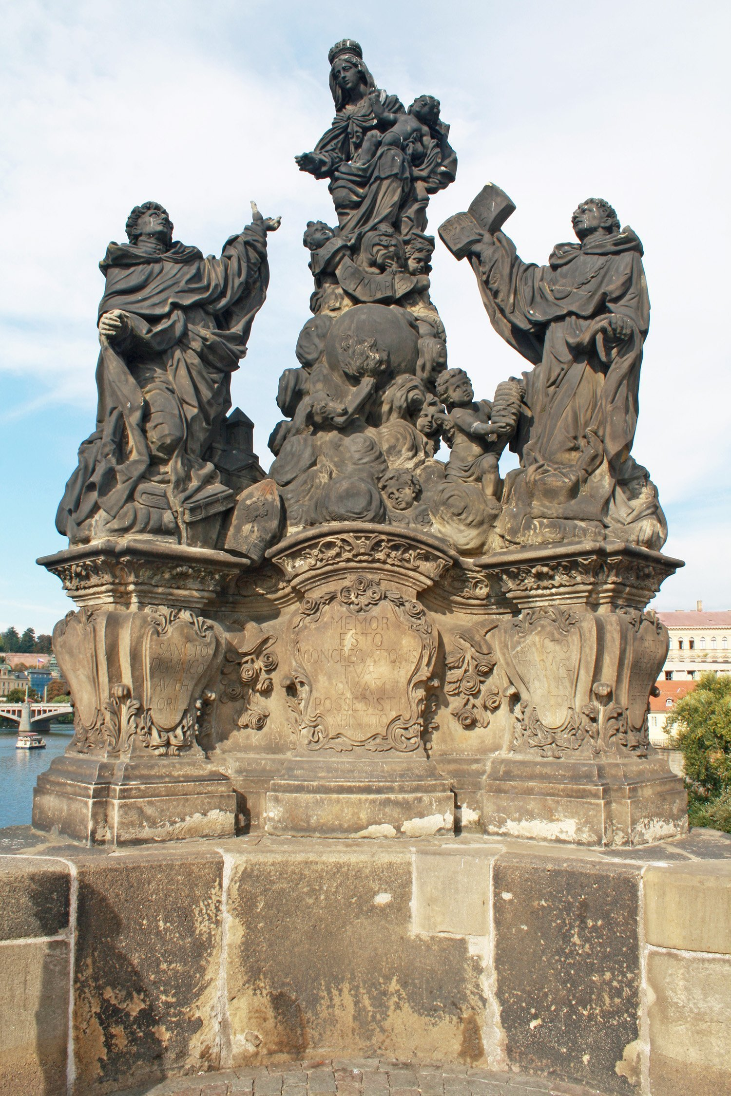 Statue of the Madonna, St Dominic and Thomas Aquinas on Charles Bridge, Prague