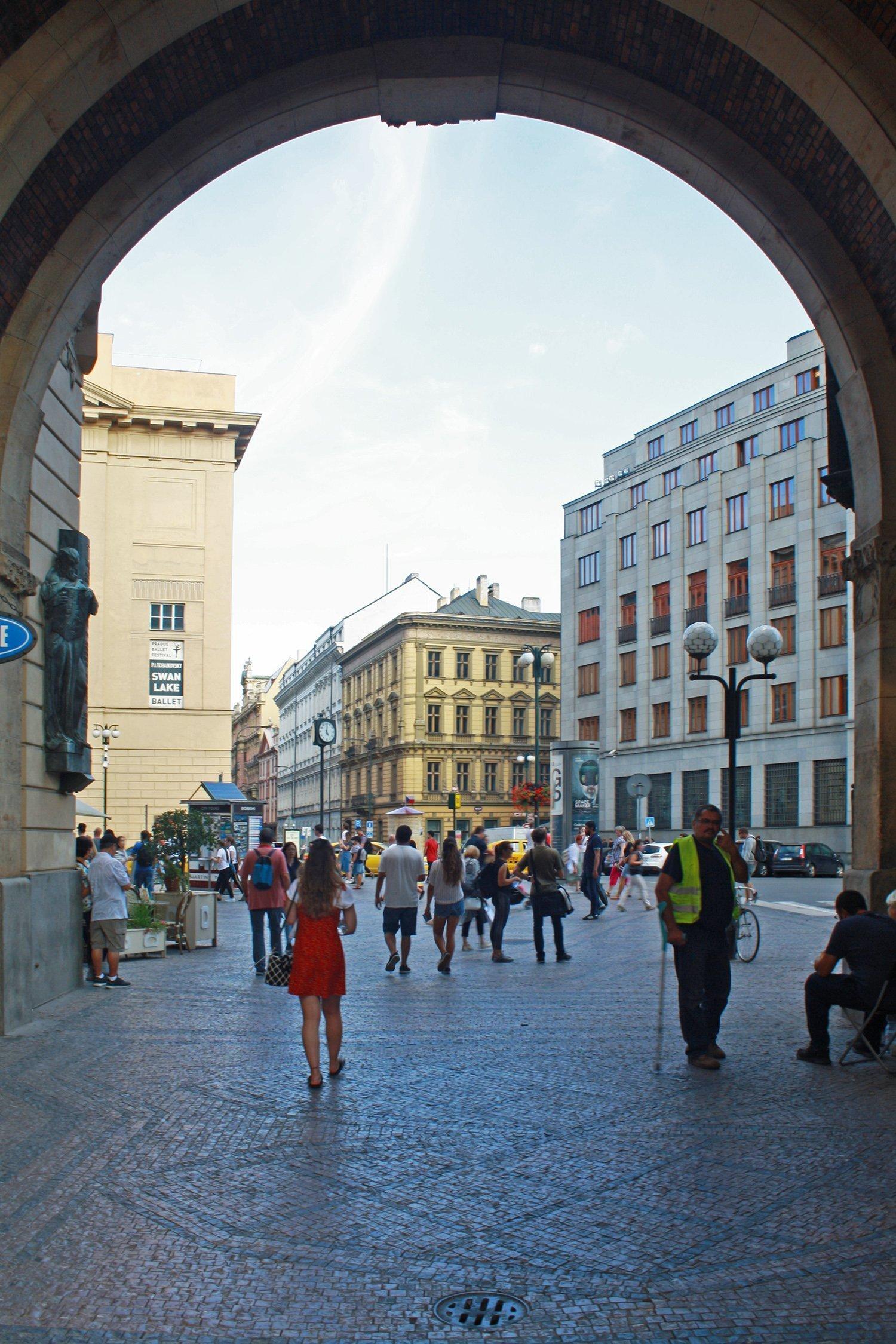 Walking through the Powder Tower, Prague