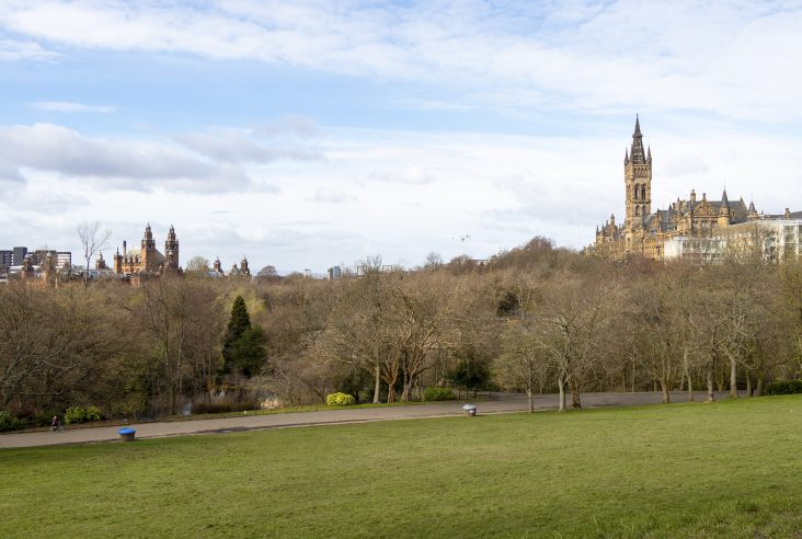 Kelvingrove museum and Glasgow University from Kelvingrove park