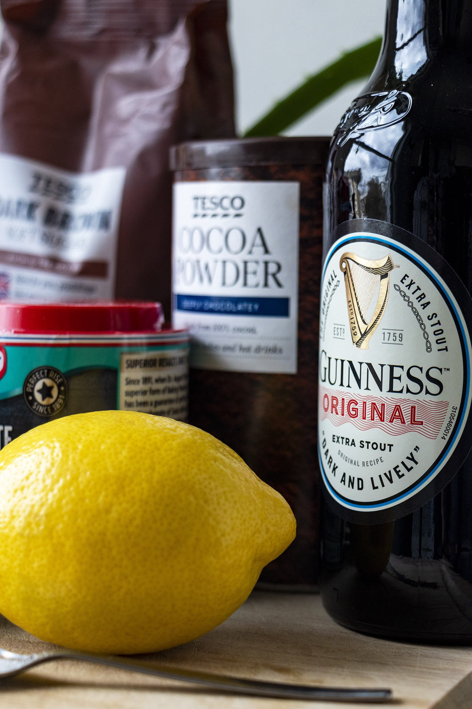Chocolate Guinness cake ingredients, Guinness bottle