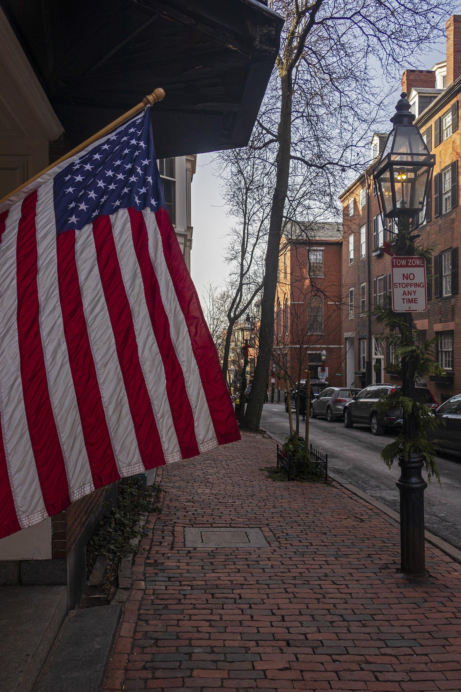 American flag on Pinckney Street, Boston