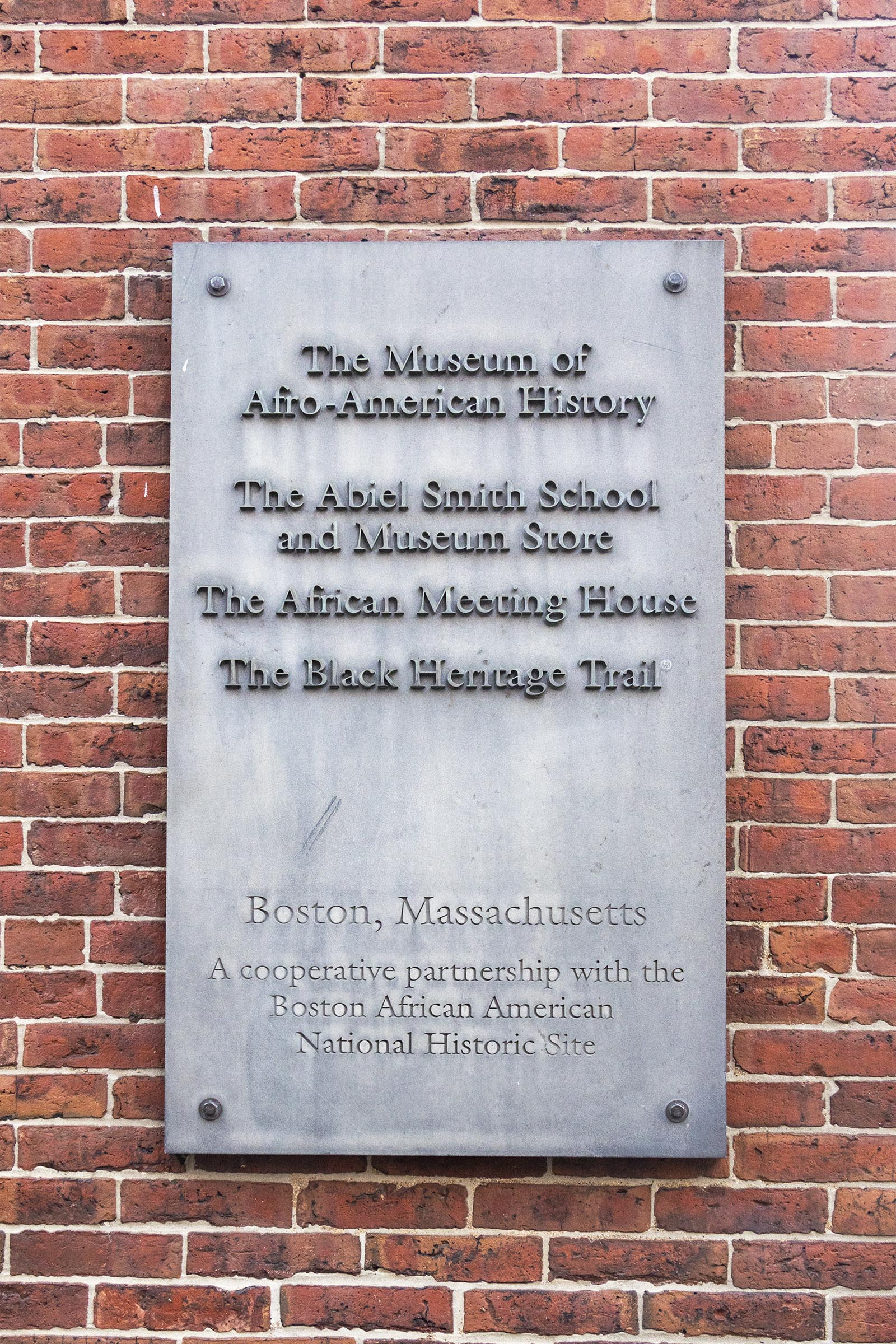 Museum of Afro American History, Abiel Smith School, African Meeting House and Black Heritage Trail, Boston sign