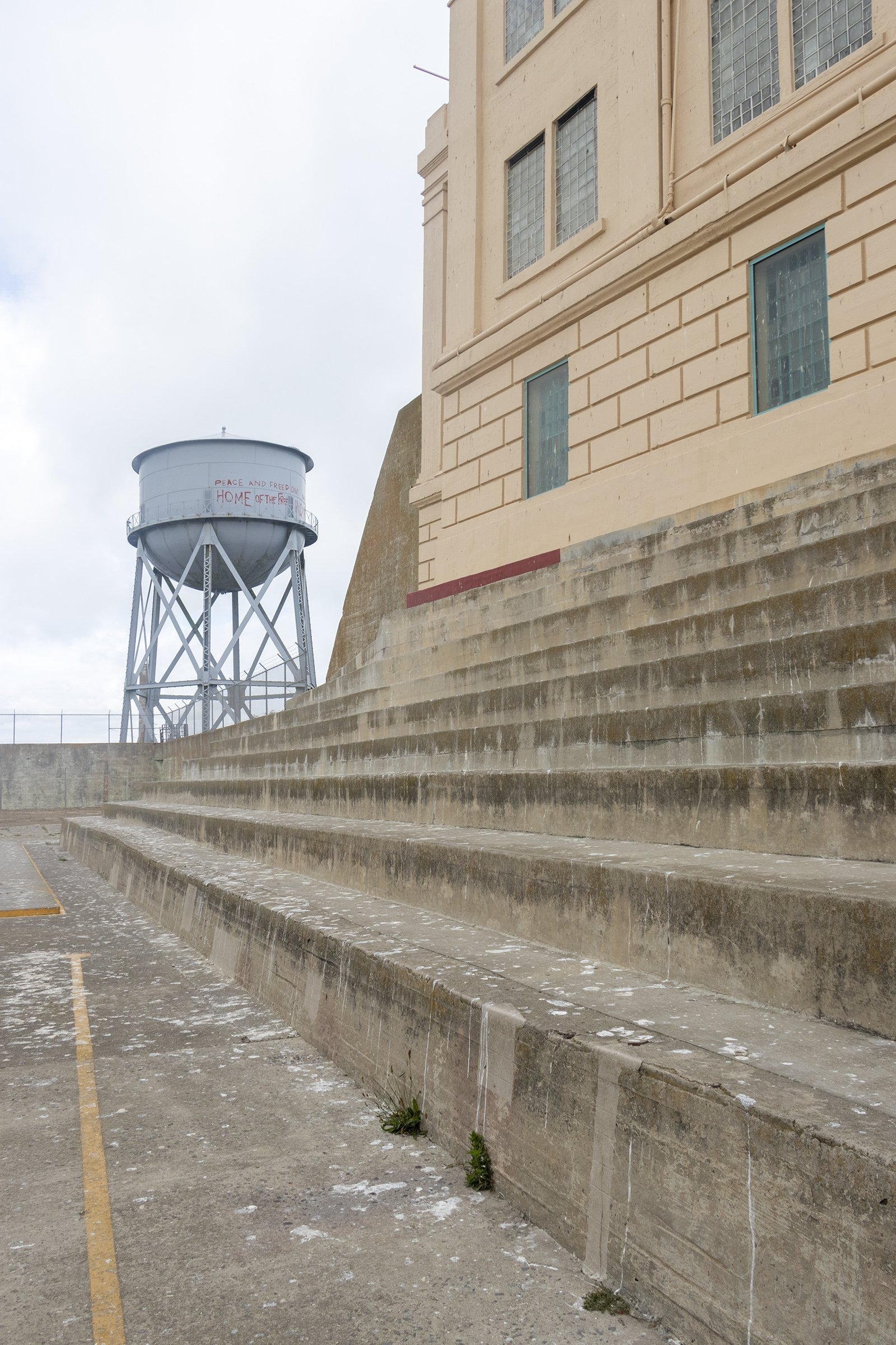 Alcatraz recreation yard and water tower