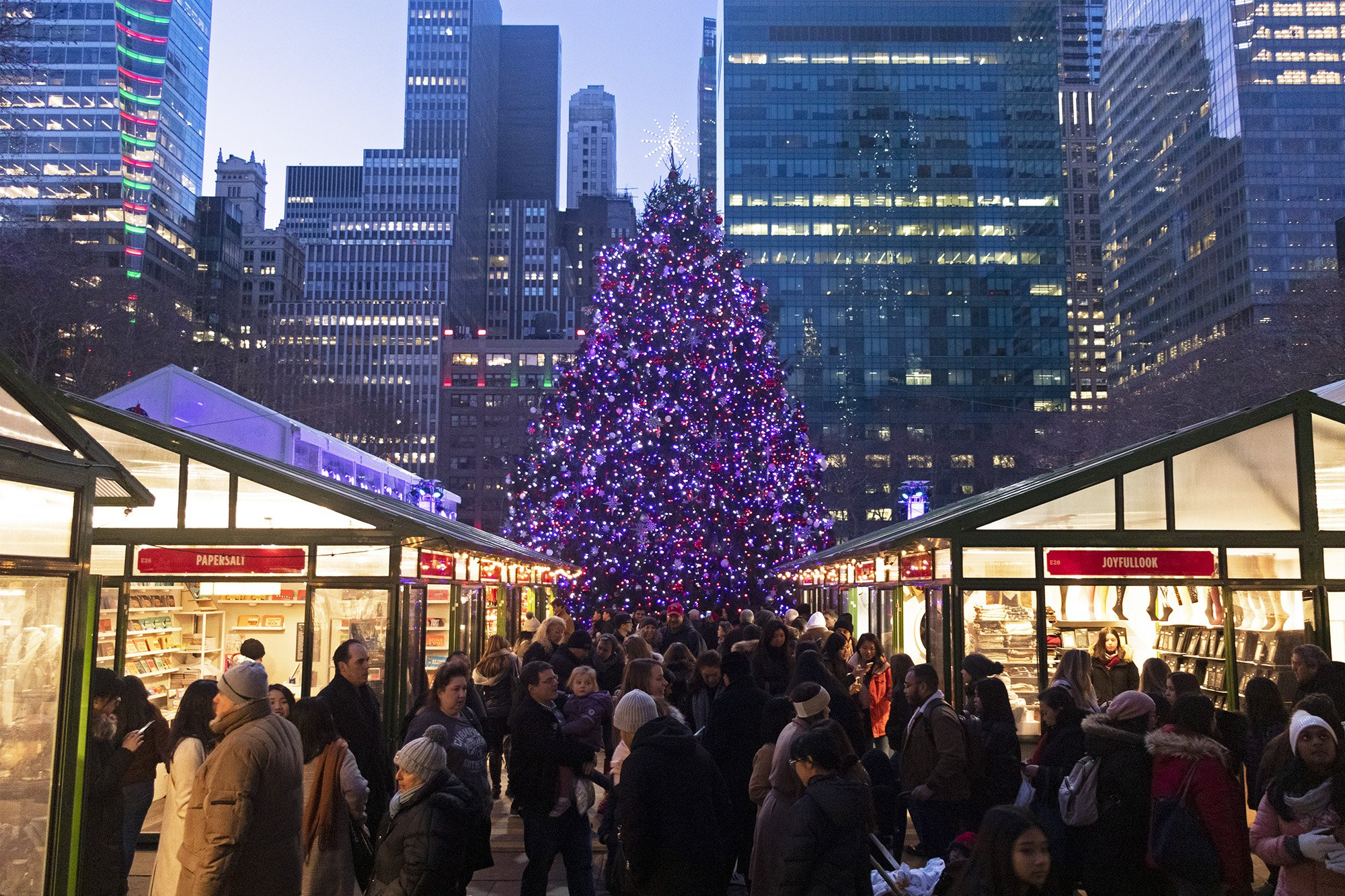 Bryant Park Winter Village shops and Christmas tree