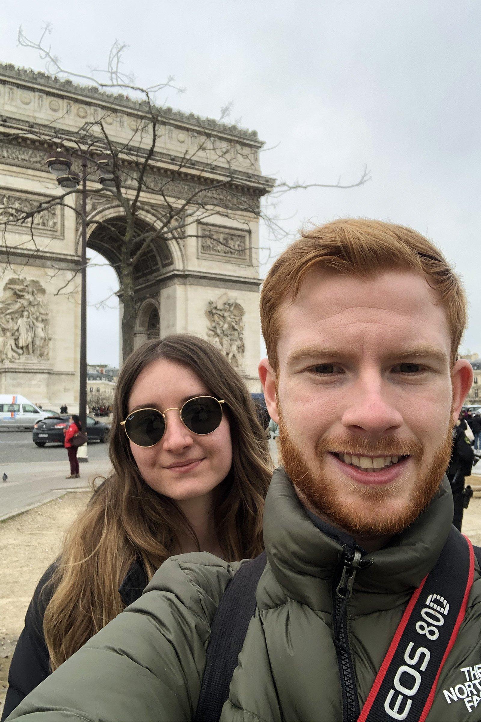 Selfie in front of Arc de Triomphe