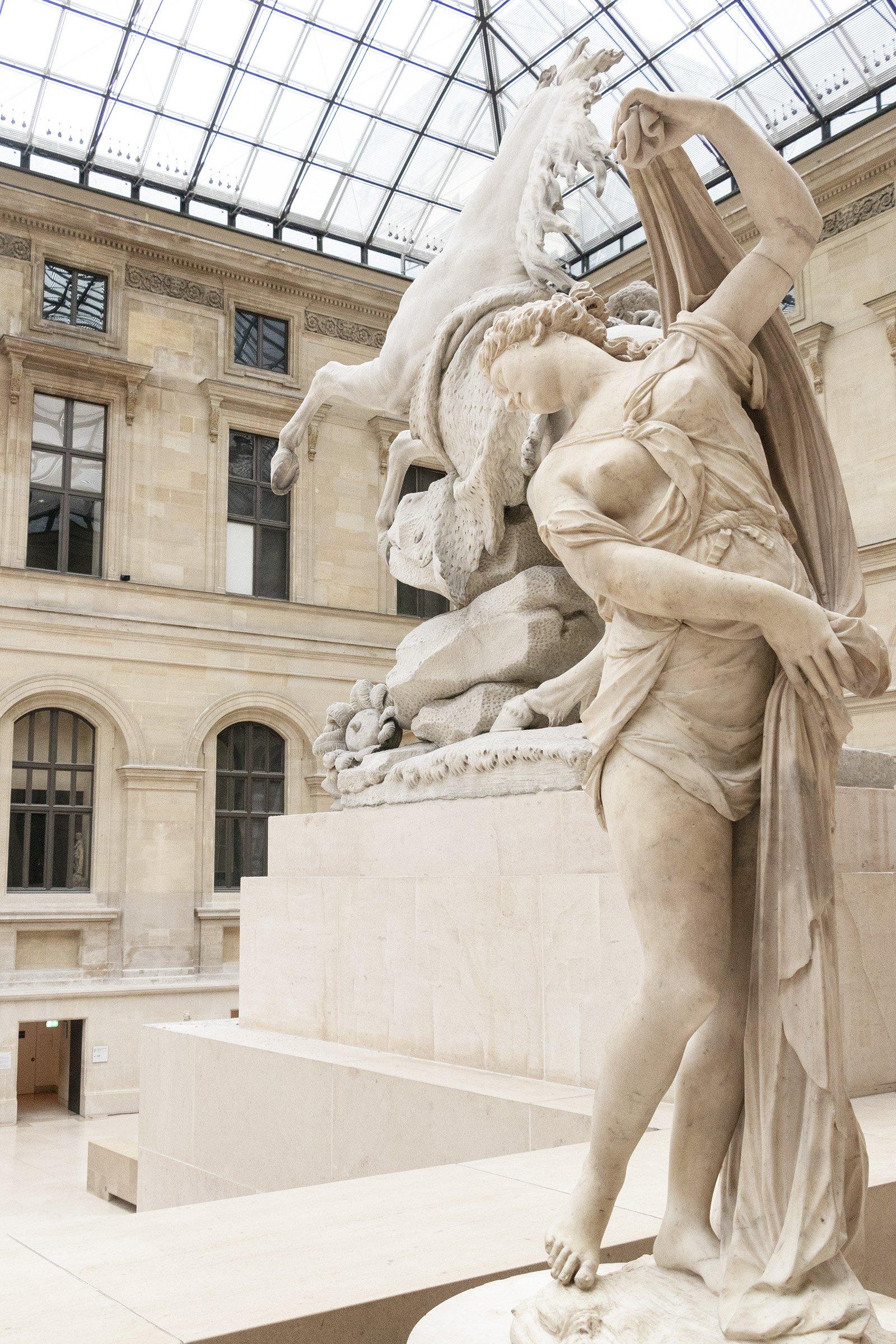 Statues in Louvre museum, Paris