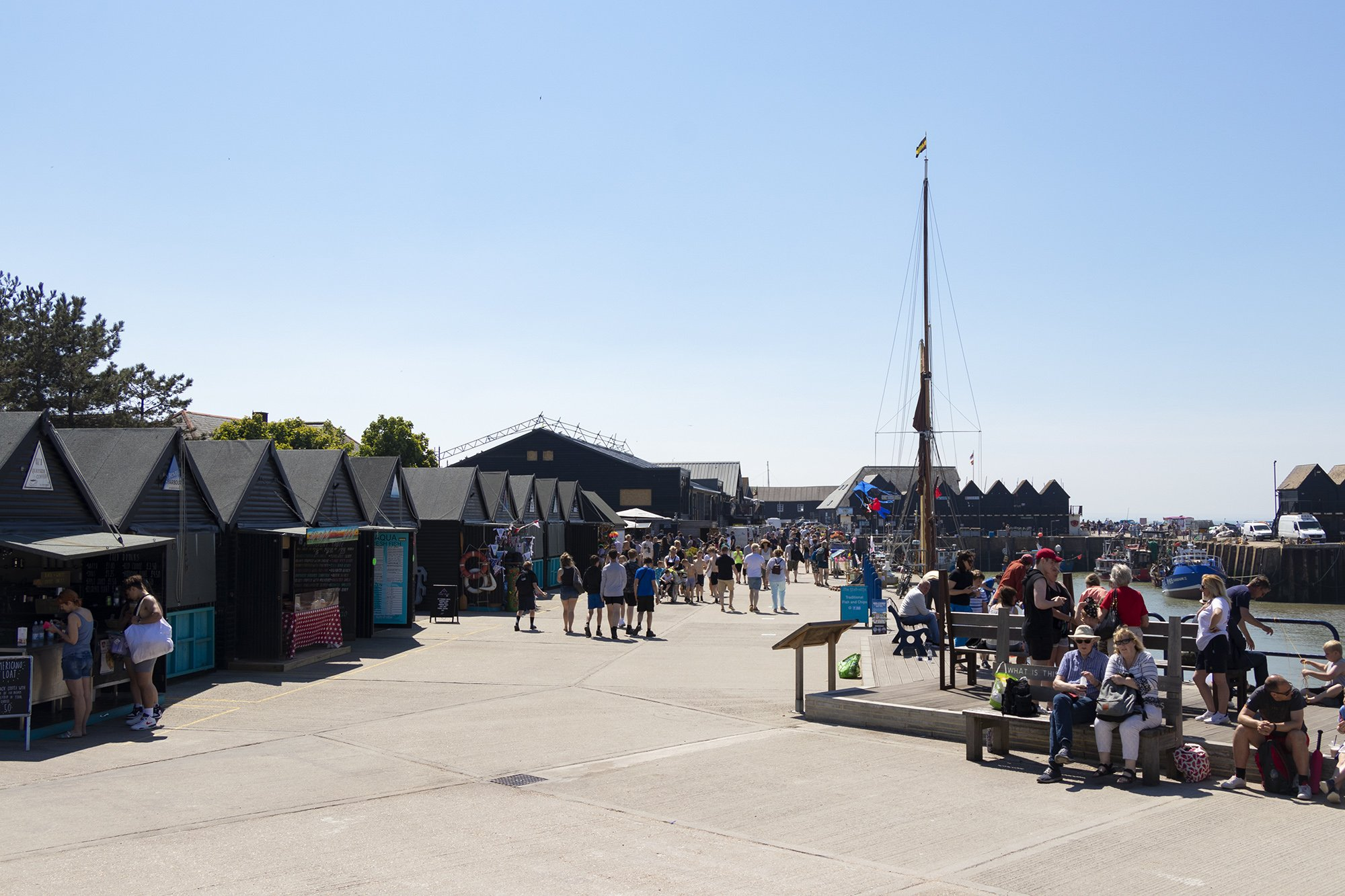 Whitstable harbour and shops