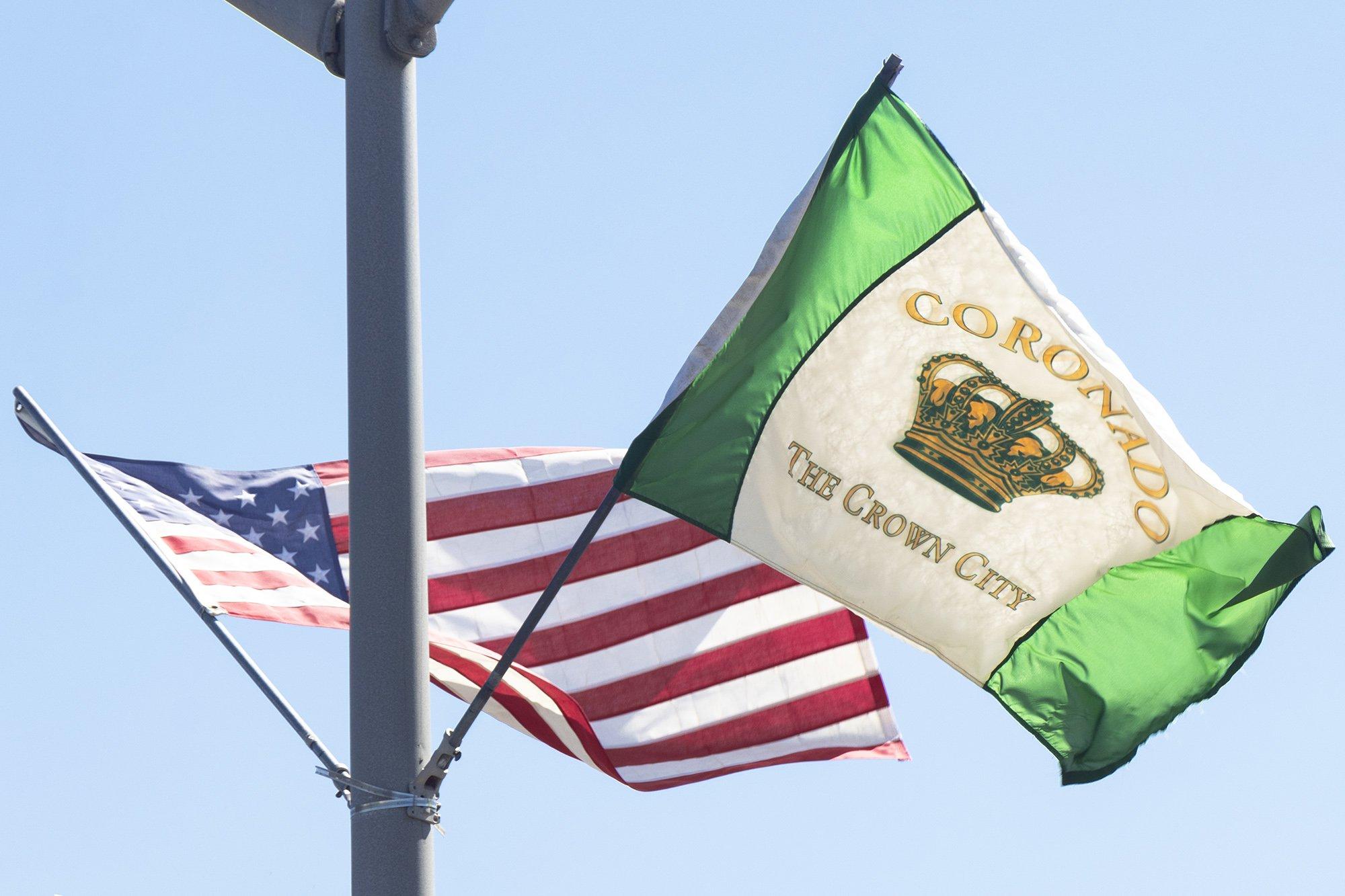 Coronado flag and USA flag